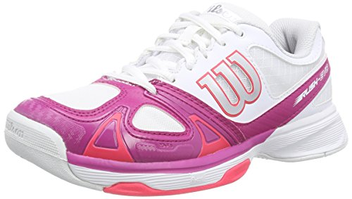 Wilson RUSH EVO WOMAN, Damen Tennisschuhe, Mehrfarbig (White/Fiesta Pink/Neon Red), 41 EU (7 Damen UK)