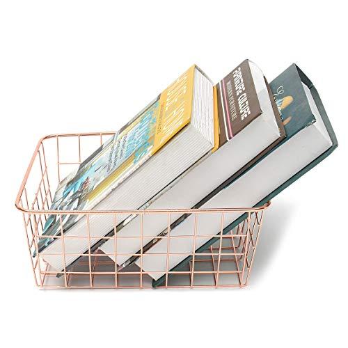 HELEISH Design-Haushalt Rose Gold Körbe Kupferdraht-Lagerplätze Stahl Home Organization Modern Decor Zubehörwerkzeug -