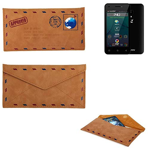 K-S-Trade Für Allview P42 Kunstleder Handyhülle Schutz Hülle für Allview P42 in braun. Briefumschlagoptik Slim case Cover Pouch für Handys/Smartphones Bookstyle Wallet Case