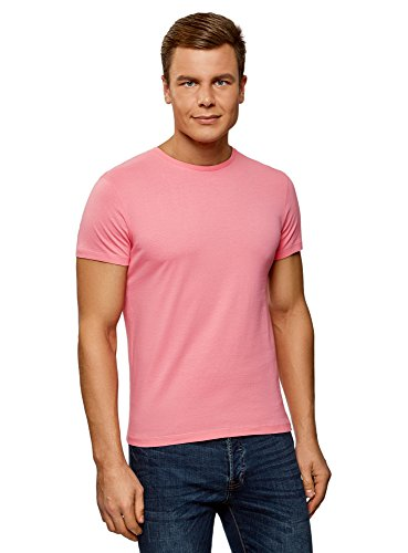 oodji Ultra Herren T-Shirt Basic Rosa (4100N)