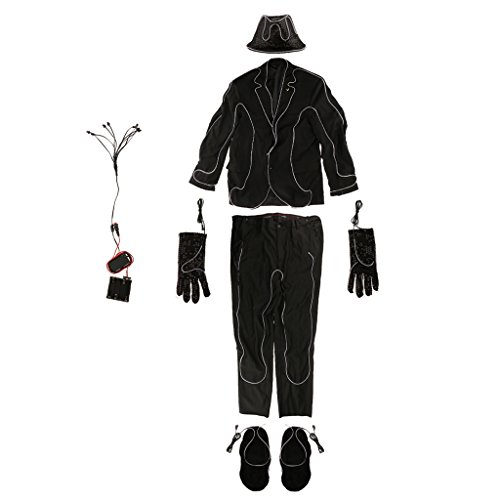 Stick Mann Kostüm - MagiDeal Männer LED Leuchten Kostüm Anzug
