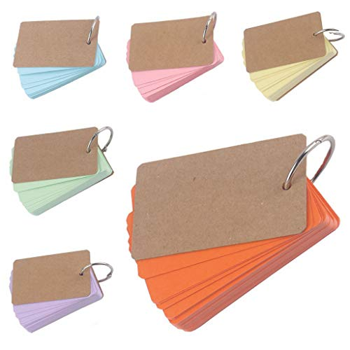Y56 Buckle Ring Notebook, Blank Page Kraft Paper Notebook Word Study Card Portable Notepad DIY Notebook