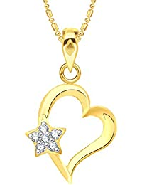 VK Jewels Star Heart Gold And Rhodium Plated Alloy CZ American Diamond Pendant With Chain For Women [VKP2559G]
