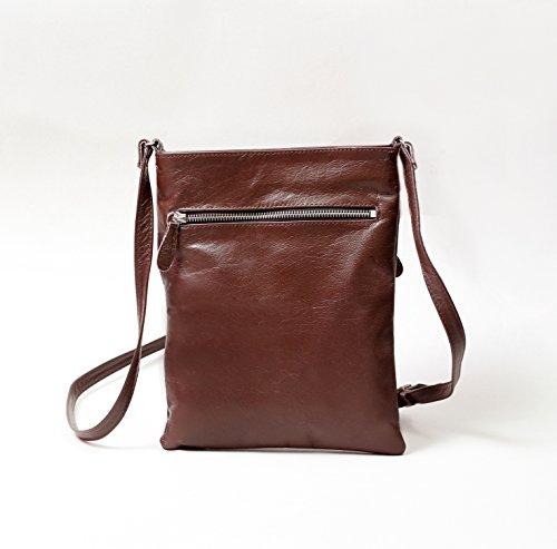 Donna in Pelle Croce corpo borsa con tracolla regolabile, colore: nero/marrone marrone