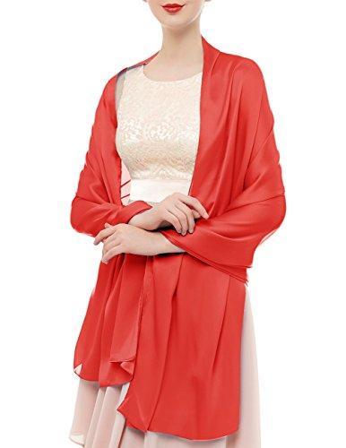 Bridesmay Damen Elegant Seidenschal 180*90cm Seide Halstuch Stola Schal für Kleider in 20 Farben Dark Red (Kleid Seide Frauen)