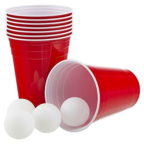 Vaily Partybecher Rot 50 Stück + 6 Bälle (473ml/16oz) Rote Becher