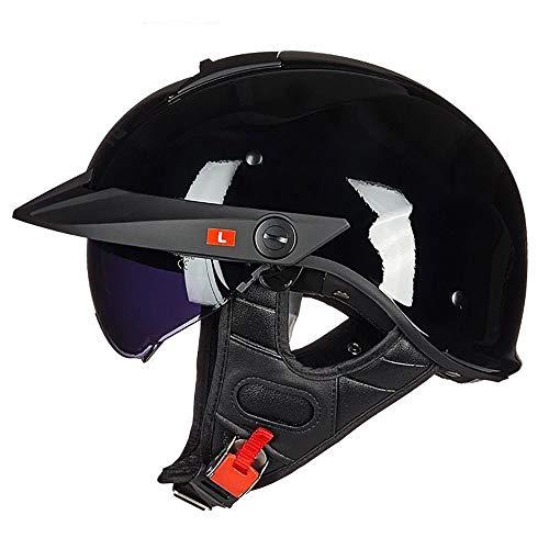 SDKUing Harley Retro halbe Helm Motorrad Männer und Frauen Sommer Persönlichkeit Mode Paar Prinz Vintage Style Helm Außenreitschutz DOT-Zertifizierung Herausnehmbares Futter