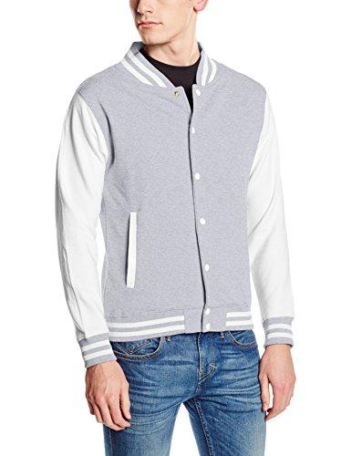Just Hoods by AWDis Herren Jacke Varsity Jacket Multicoloured (Heather Grey/White)