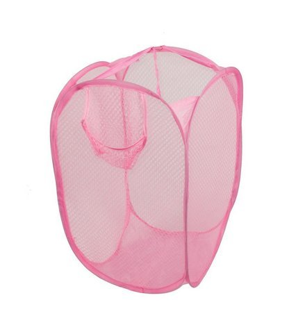 ANKKO Haushalt Faltbare Wäschekörbe (Rosa)
