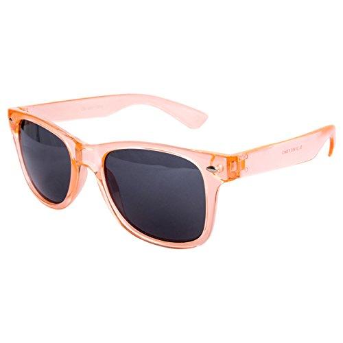 Ciffre EL-Sunprotect® Sonnenbrille Nerdbrille Brille Nerd Transparent Rosa Orange UV400 (Rosa Nerd Brille)