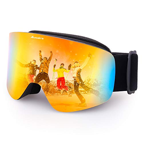 Avoalre OTG Lunettes de Ski Protection Adulte Masque de Ski Femme et Homme Masque Ski Snowboard Neige Anti-UV Adapté pour Lunettes pour Exterieures Vélo Moto Cross sans Cadre