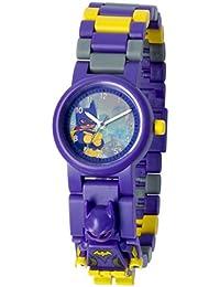 LEGO Batman Movie 8020844 Batgirl Kinder-Armbanduhr mit Minifigur und Gliederarmband zum Zusammenbauen | violett/gelb | Kunststoff  | analoge Quarzuhr | Junge/ Mädchen | offiziell