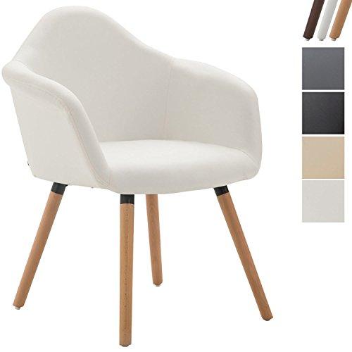 Clp sedia da pranzo tito, sedia cucina in similpelle, con braccioli e schienale, sedia con telaio in legno di faggio, poltroncina 4 gambe, imbottita, sedia design, poltroncina da salotto bianco colore base: natura