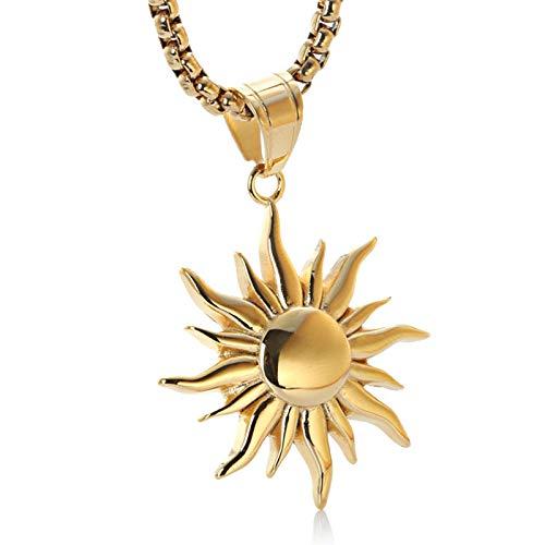 Epinki Edelstahl Unisex Halskette Sonne Form Edelstahlkette Anhänger Gold (Sonne Halskette)