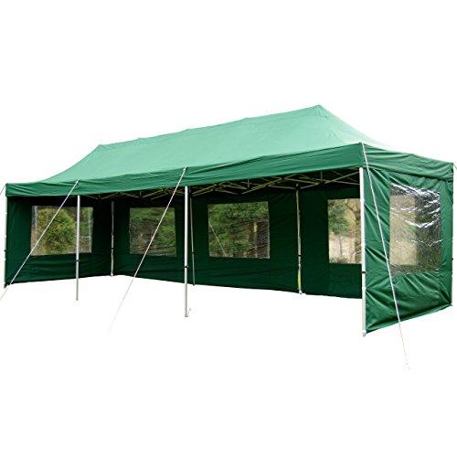 Nexos Profi Faltpavillon Partyzelt Pavillon 3x9 m mit Seitenteilen - Hochwertige Ausführung - Wasserdichtes Dach mit PVC-Coating - 270 g/m² Incl. Tragetasche und Zubehör - Farbe: Grün