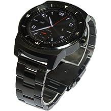 22 mm Venda De Reloj De La Correa De Acero Inoxidable Sólido Con Hebilla para LG G Watch R W110- Negro