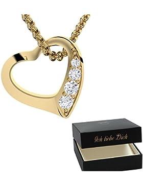 Herzkette Gold Kette Silber 925 Damen-Kette Halskette Gold GRATIS Etui mit Gravur Echt-Schmuck Herz-Anhänger Herzchen...