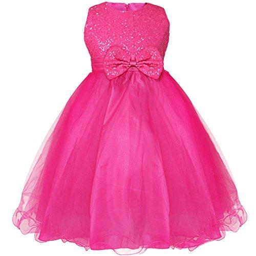 Kostüm Prinzessin Rose Kind - iEFiEL Mädchen festlich Kleid Hochzeit Festkleid mit Pailletten für Kinder Prinzessin Kleid Kostüm Partykleid 92-164 Rose 122-128