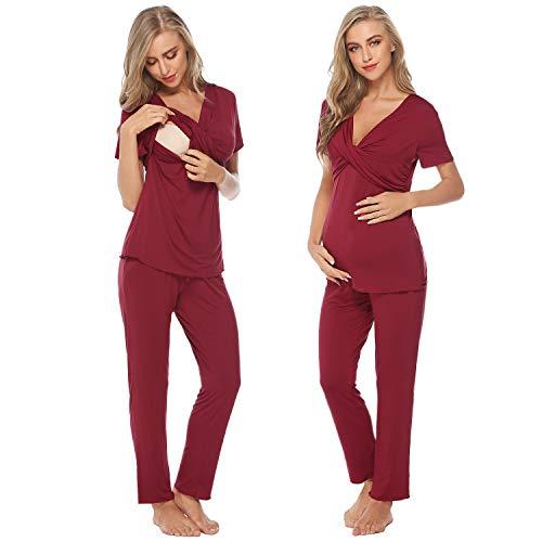 Hawiton Pijama de Lactancia Verano Ropa Premamá Embarazadas Primavera Algodón Mangas Corta Hospital