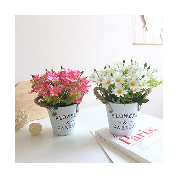 LbojailiAi Flor Artificial 1Pc Artificial Flower Daisy Metal Pot Bonsai Stage Garden Wedding Party Decor – Amarillo