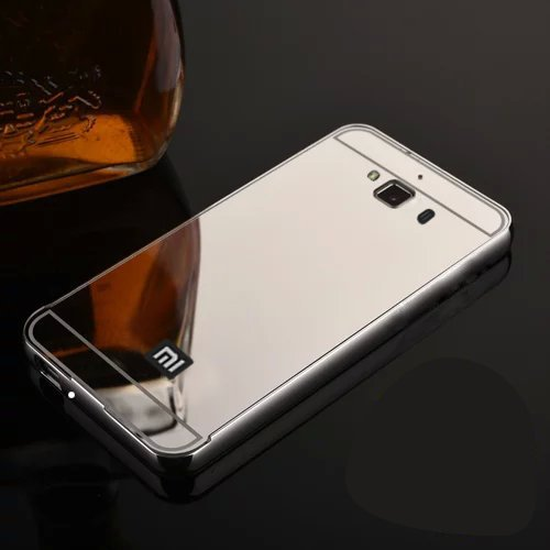 Febelo Branded Luxury Metal Bumper + Acrylic Mirror Back Cover Case For Xiaomi Redmi 2 / Xiaomi Redmi 2 Prime - Silver Plated