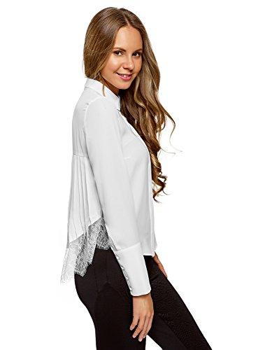 oodji Collection Damen Bluse mit Spitzen und Plissee-Rücken, Weiß, DE 40/EU 42/L (Damen Plissee-bluse)