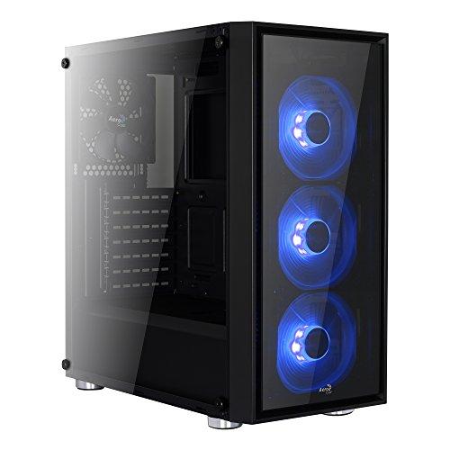 Aerocool QUARTZ - Caja gaming para PC (semitorre, ATX, 2 paneles de cristal templado, 7 ranuras de expansión, incluye 3 ventiladores frontales 12cm iluminación LED azul, USB 3.0), color negro