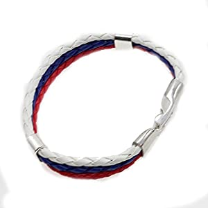 Trendy Unisex Edelstahl Schließe 3 Schicht-Leder geflochtenes Armband Flag Bangle - Russland