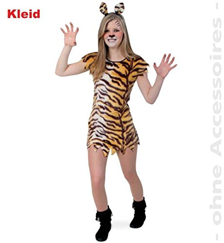Tiger Kleid Little Tisha 140 1tlg PLÜSCH Teennie Kinder-Kostüm Fasching (Tiger Kleid Für Kinder)
