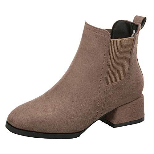 Martin Stiefel Damen Schuhe SUNNSEAN Mode Karree Starke Ferse Slip on Boots Casual Lackleder Freizeitschuhe Kurze Stiefel Winterstiefel Elegant Ankle Boots