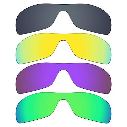 MRY 4Paar Polarisierte Ersatz Gläser für Oakley Antix sunglasses-black Iridium/24K Gold/Plasma violett/Smaragd Grün