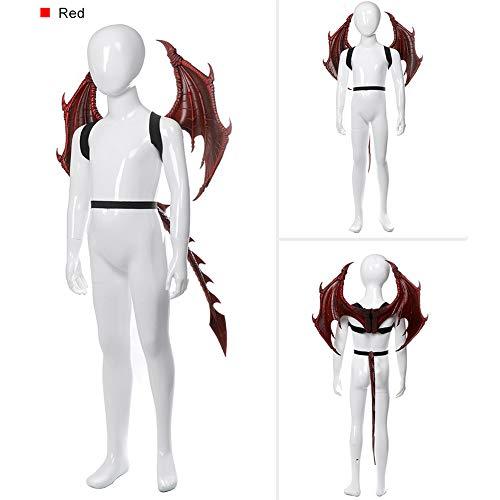 rachenflügel Set -Kinder Fantasy Halloween Dinosaurio Drachen Kostüm Kind Tier Maske Flügel Schwanz Zubehör ()