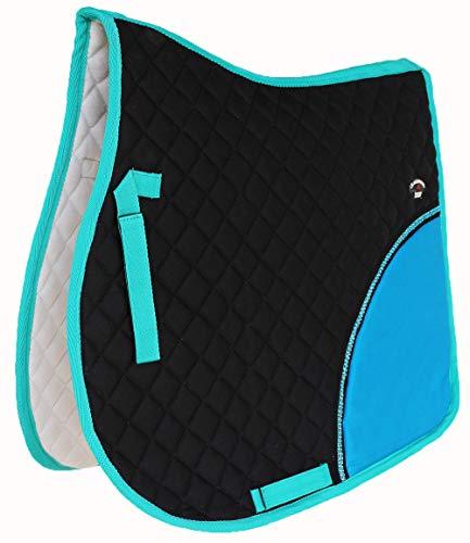 Unbekannt Challenger Pferd gesteppt Englisch Sattel Pad Trail Baumwolle Alle Zweck 729394, Black/Turquoise/Blue, 23