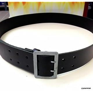 H+DG Gürtel/Leibriemen, schwarz, aus 45 mm breitem schwarzen Kernblankleder mit eingenähter silbergekörnter Zweidornschnalle.
