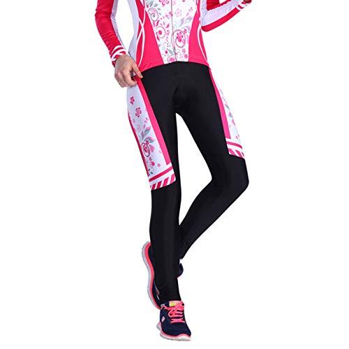 SonMo Damen Radtrikot Jersey Mountain Biking Anzug Fahrradkleidung Fahrrad Trikot Reitanzug Sportbekleidung Fahrradshirts Fahrradanzug Fahrradhosen Radhose mit Sitzpolster Blume L
