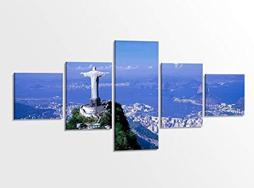 Leinwandbild 5 tlg. 200cmx100cm Rio de Janeiro Brasilien Christus Erloeser Huegel Bilder Druck auf Leinwand Bild Kunstdruck mehrteilig Holz gerahmt 9AB364