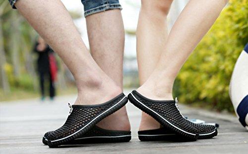 Moolecole Breath Unisex Adult Garten Clog Schuhe Männer Frauen Strand Sandalen Sommer Slippers Schwarz