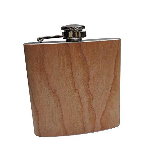GravUp: Edelstahl Flachmann 180 ml mit heller Holzummantelung (echt Holz)