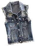 Gilet Jeans Donna Casual Fashion Strappato Smanicato Giacche Jeans Gilè Eleganti Casual Vintage Ragazza Distressed Denim Giacche Giubotto Primaverile Estivi