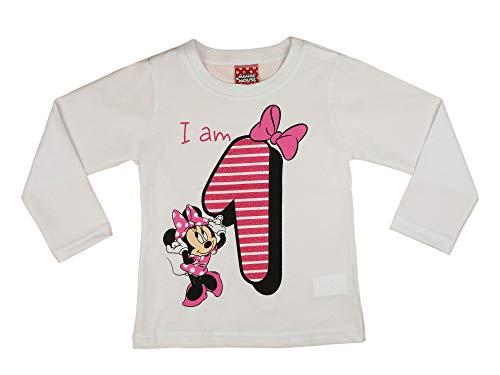 Mädchen Baby Kinder erster Geburtstag T-Shirt 1 Jahr Baumwolle Birthday Outfit GRÖSSE 86 Minnie Mouse Disney Design Glitzer Weiß Rosa Babyshirt Oberteil Farbe Weiss