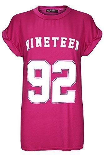 Oops Outlet Damen-Trikot-Shirt Nineteen 92USA Varsity, weiter Schnitt, mit umgeklappten Ärmeln, S/M, Schwarz Neunzehn 92 Kirschrosa