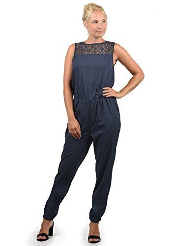 BlendShe Amor Damen Jumpsuit Overall Einteiler Mit Spitze Und Rundhals-Ausschnitt, Größe:XXL, Farbe:Mood Indigo (20064)