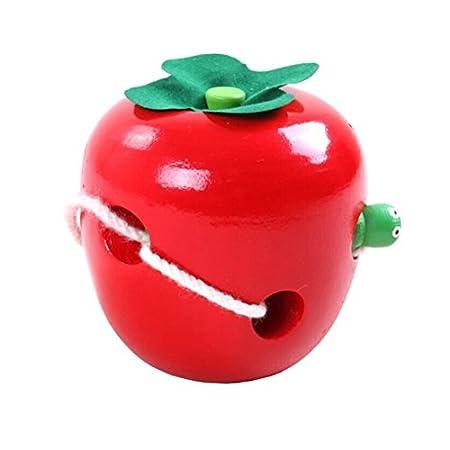 LEORX Fädelapfel Apfel Würmer Kinder Holz Spielzeug Winding Spielzeug (Rot + Grün)