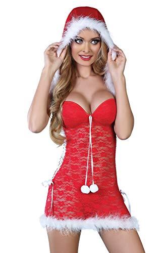 Selente luxuriöses mehrteiliges Damen Dessous-Set in Raffiniertem Weihnachts-Design, mit Exklusiver Satin-Augenbinde Made in EU, Kapuzen-Negligee-Tanga, Gr. S/M
