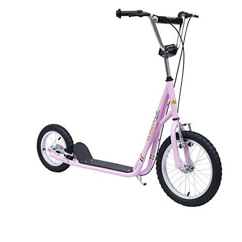 Homcom 53-0023 - Tretroller Scooter, 16/12 Zoll, pink