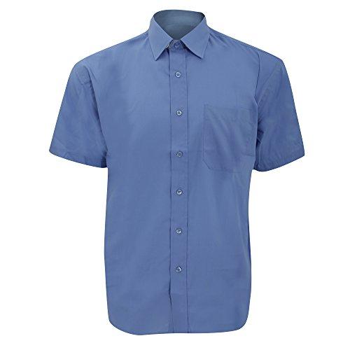 Russell Collection Popelin Herren Hemd, Kurzarm, pflegeleicht Schwarz