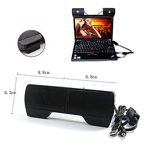 Jcotton 3,5 mm Petit Portable USB Speaker détachables Multimedia Clip-On Haut-parleurs stéréo portable Wired PC Mini SoundBar - Noir