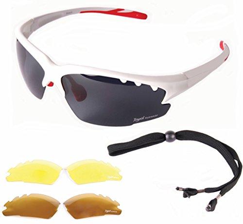 Rapid Eyewear Luna Weiß POLARISIERTE SPORTBRILLE mit Wechselgläser x 3 für Damen und Herren. Outdoor Sport Brille mit Blendschutz Linsen für Schießen, Skifahren, Windsurfen etc.