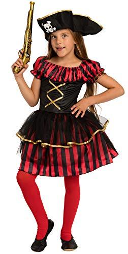 Costume da Pirata Bambina Rosso/Nero/Oro - Travestimento di Carnevale Ragazza (7-9 Anni)