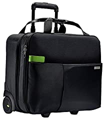Leitz, Business Softcase Handgepäck-Trolley, Smart Traveller, 17 Fächer, 44 x 37,5 x 23 cm, Polyester/Metall/Leder, Complete, Schwarz, 60590095